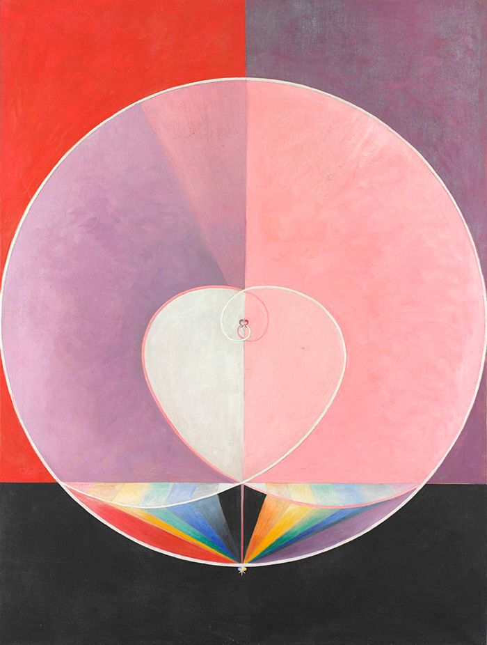 An abstract painting featuring three background squares in red, purple, and grey. Arop a large white circle is painted, with two more concentric smaller circles painted inside of that, forming a heart shape. Below is a color swatch of rainbow colors.