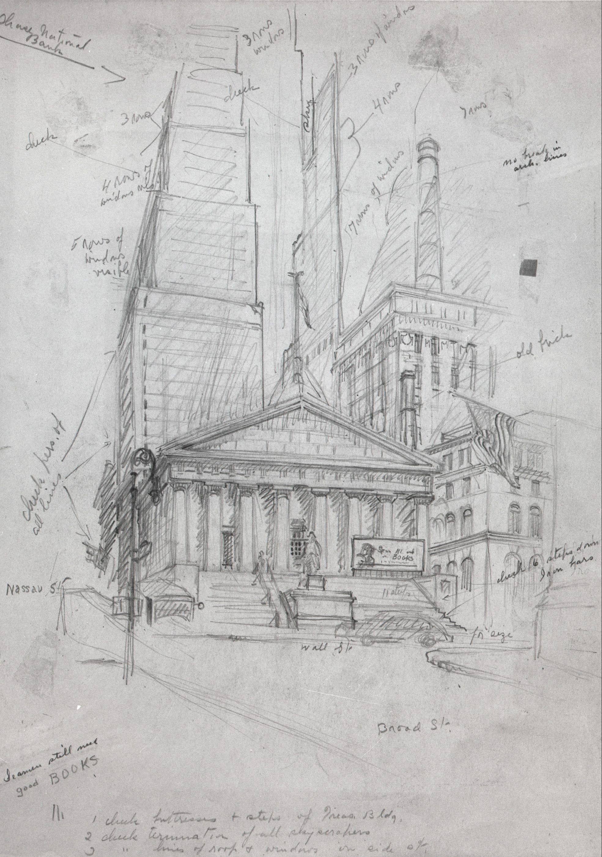 A pencil sketch of a cityscape showing a Greek Revival building behind which skyscrapers tower. Outlines of a car and a pedestrian dot the street and sidewalk in front of the building. Handwritten notes in cursive dots the drawing, pointing to different elements.