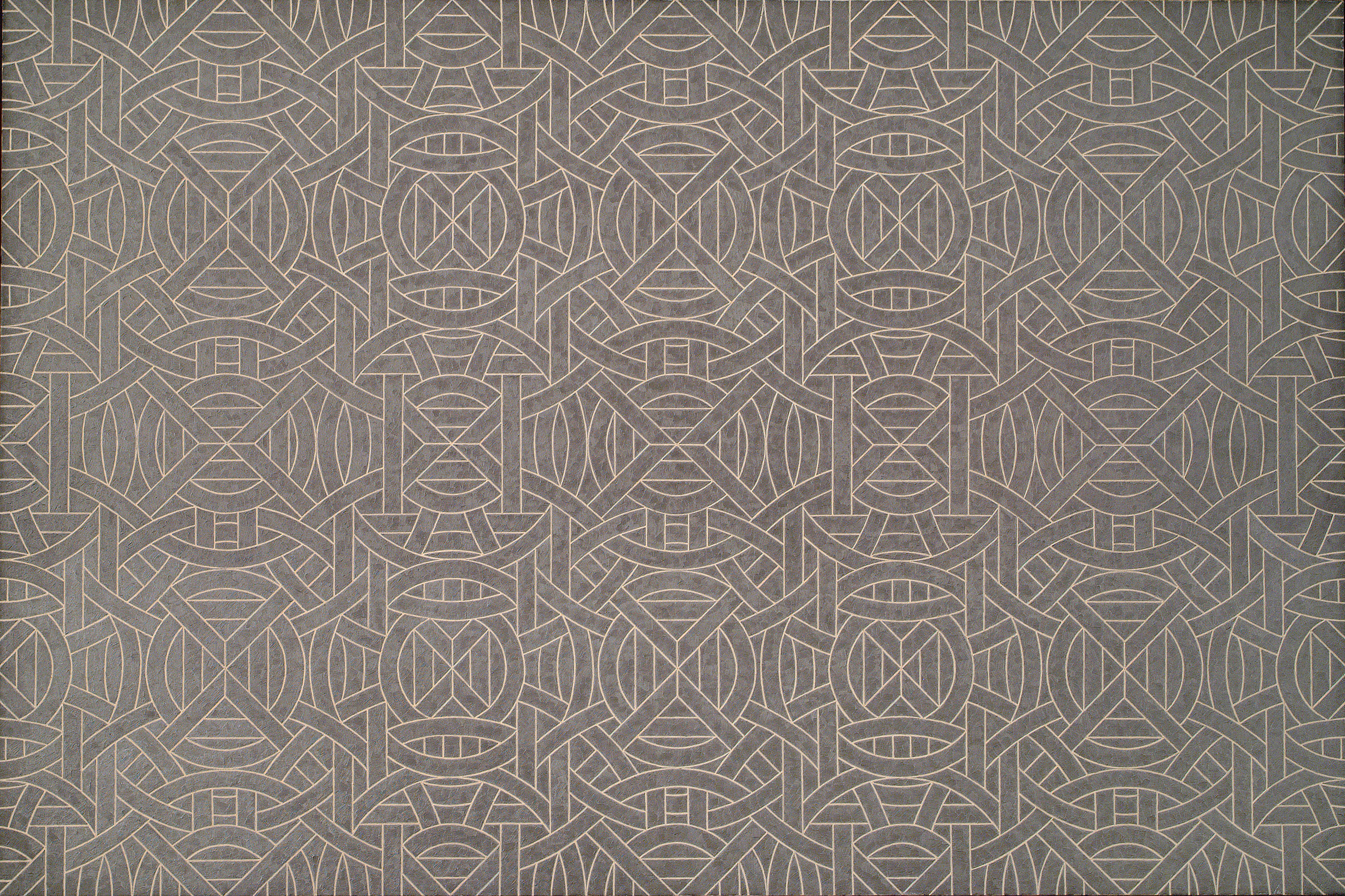 A large, abstract painting features a black/dark grey background atop which geometric forms, arranged in repeating patterns, are painted in silver paint.