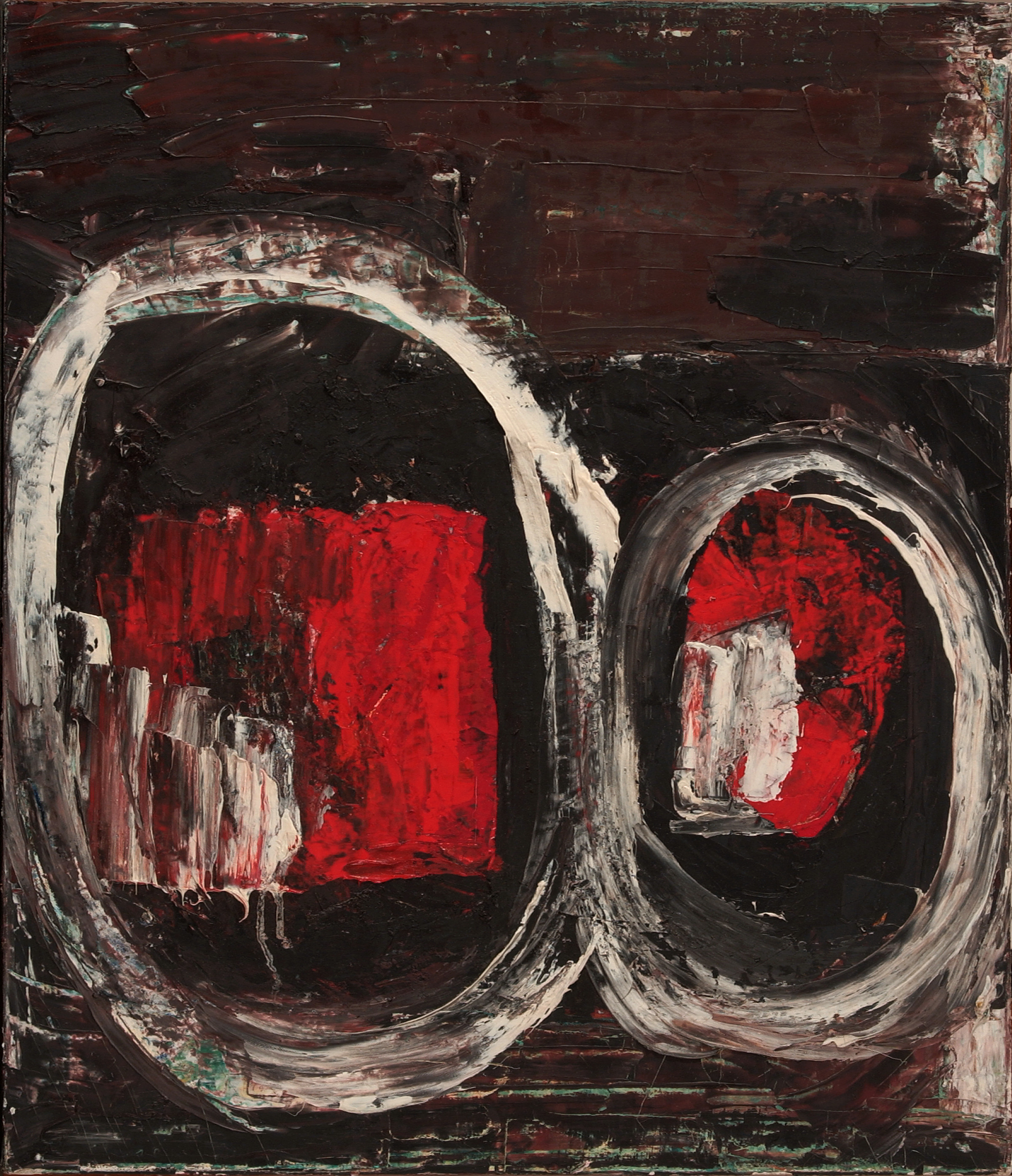 A canvas that has been thickly painted to have a dark brown and black background. The outlines of two large white ovals are placed side by side, spanning the width of the canvas and almost two-thirds the height, and rendered with visible brushwork. The left oval is slightly larger than the right. Inside the ovals are splotches of red and white paint, which have been applied in similarly thick brushstrokes.