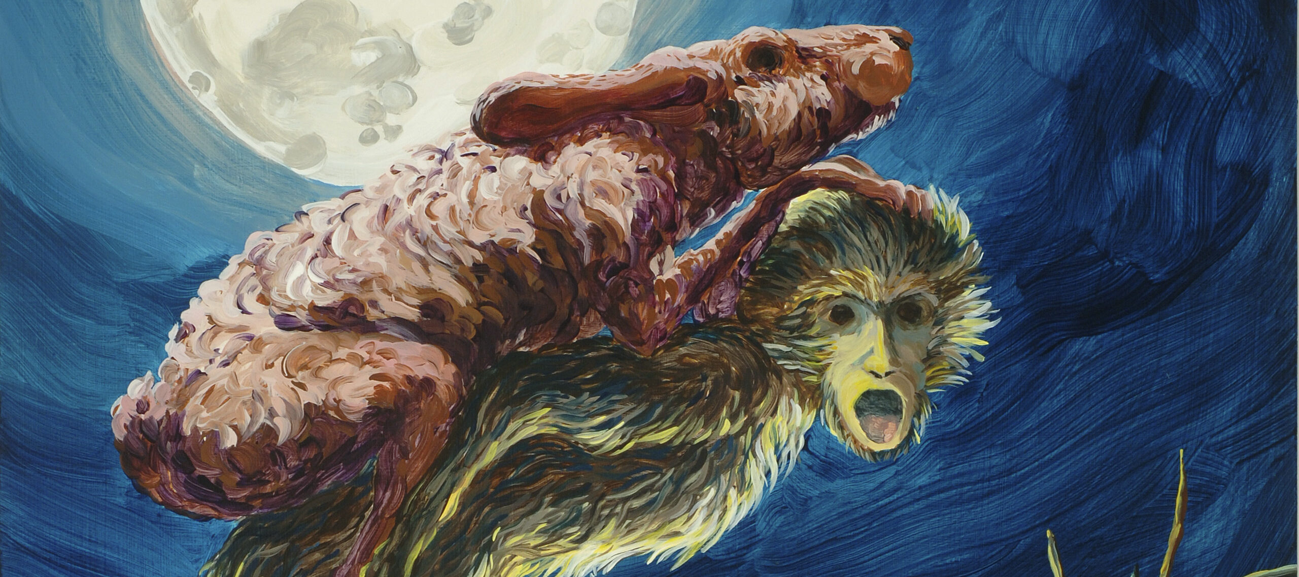 A spindly, brown, shaggy monkey facing right and climbing up a rocky slope. Its head is turned toward the viewer, showing dark eyes and a gaping mouth. Piggybacking on the monkey is a scrawny, mottled rabbit. A bright, full moon looms over the duo in a navy sky.