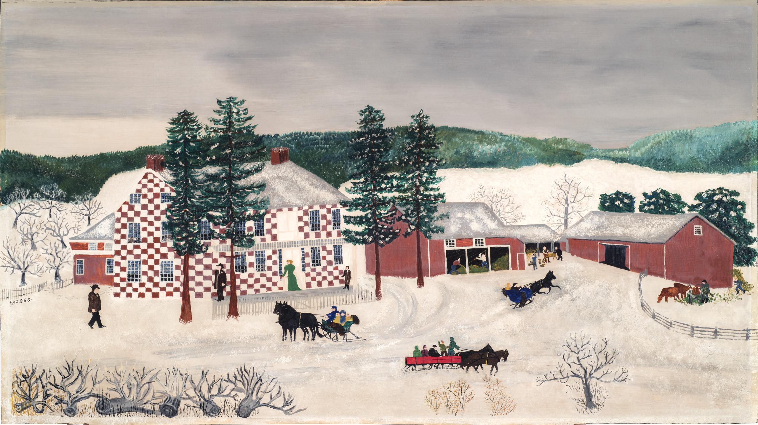 Idyllic landscape painted in a naive, folk style. The painting features a large house and red barns surrounded by white snow, bare and pine trees, and distant, green hills. Light-skinned people mill about, some working in barns, and many in horse-drawn sleds, under a gray sky.
