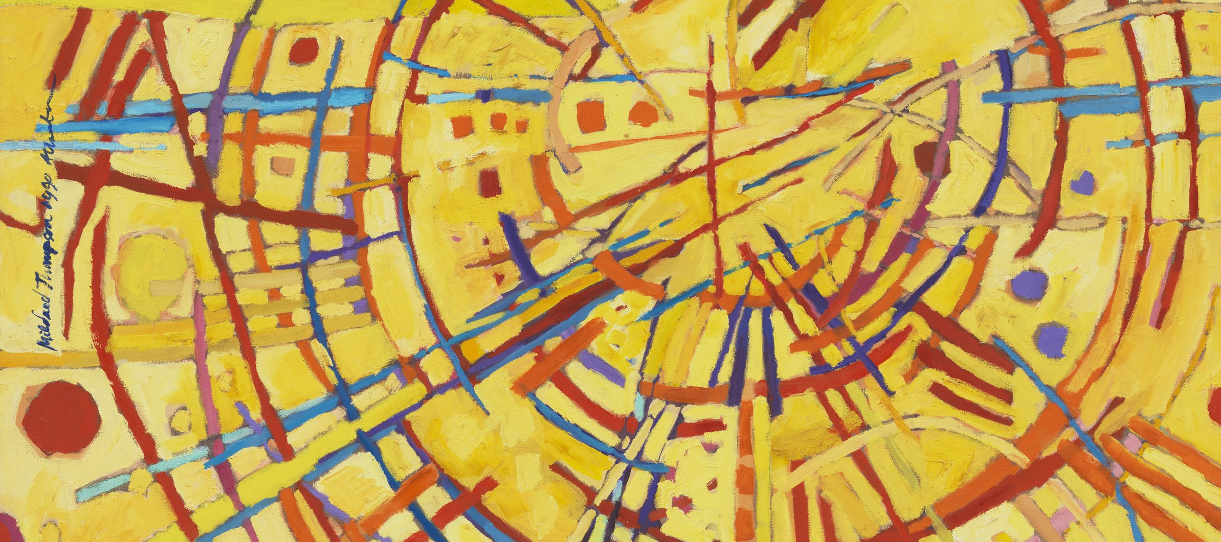 Abstract painting features a vivid yellow background covered by circles, daubs, and straight and wavy lines in red, orange, cobalt, sky blue, and violet. Arcing red strokes evoke concentric circles. Straight lines in other hues radiate out from the center circle like a starburst.