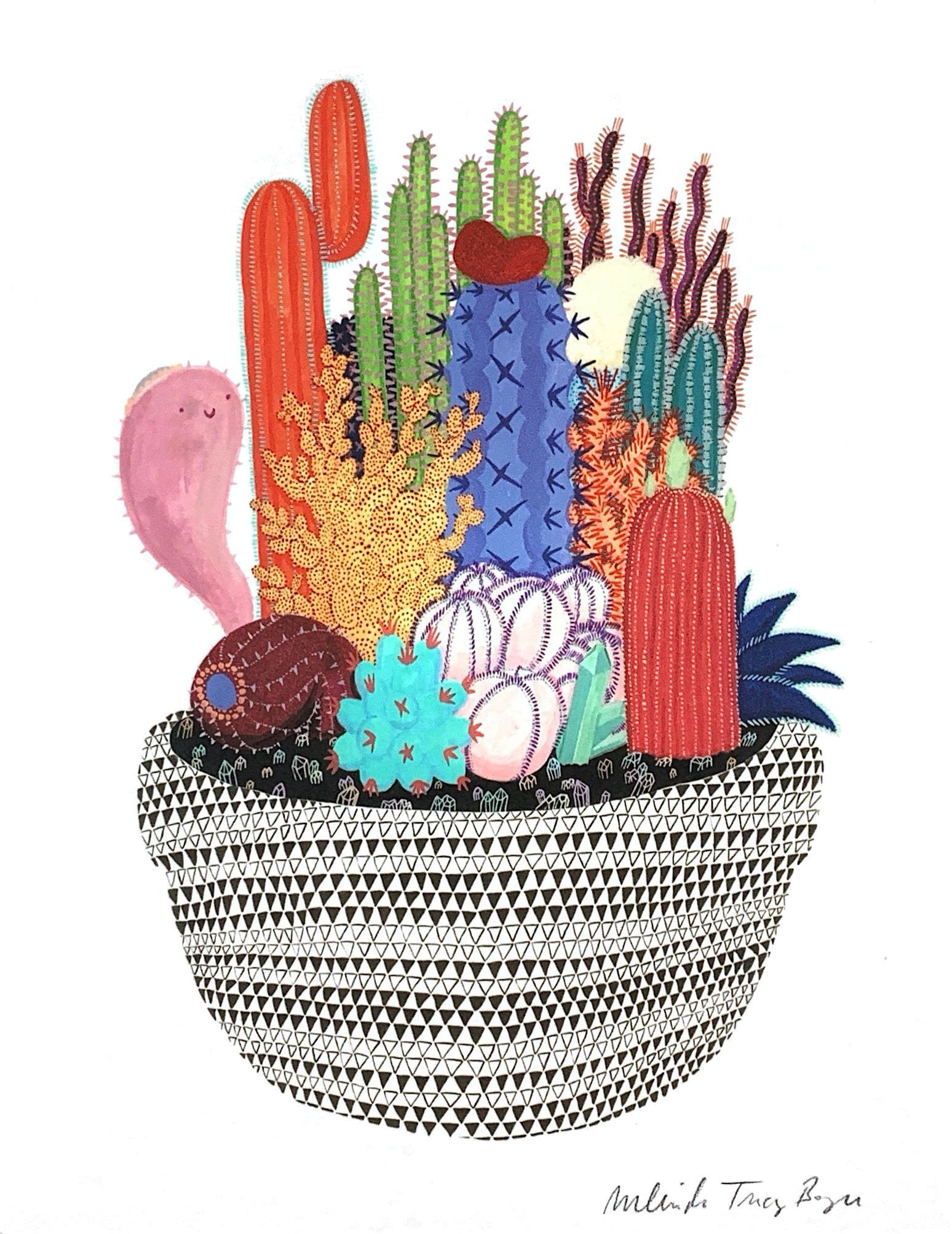 A whimsical illustration of different types of cacti arranged in a patterned planter.