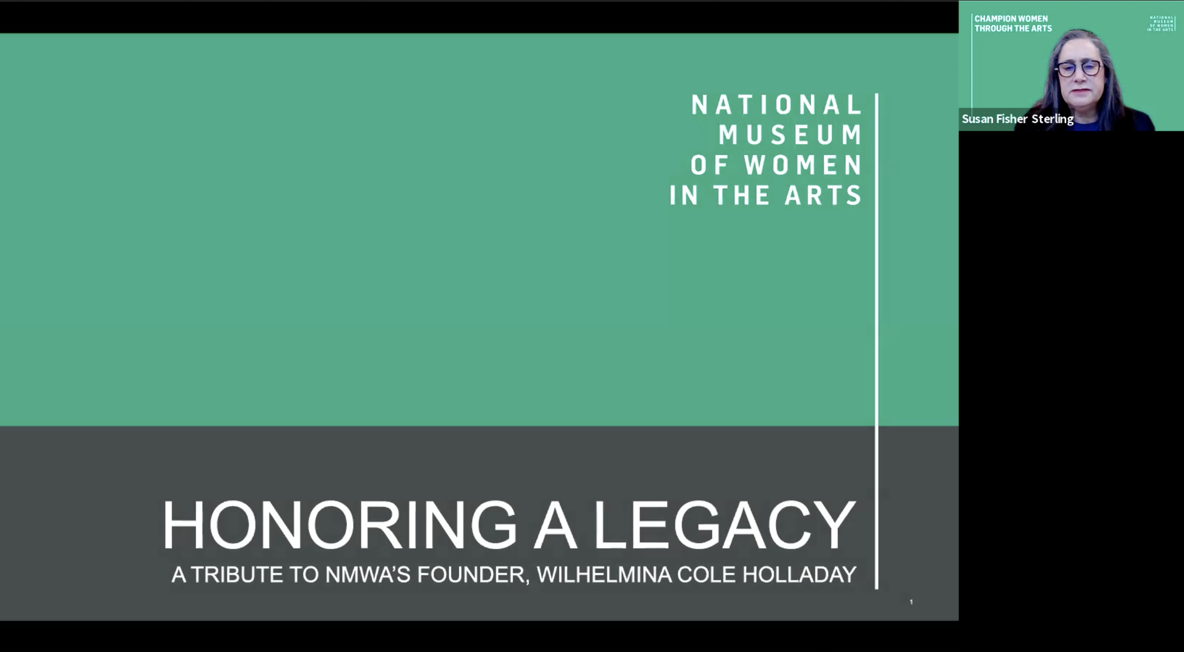 Title slide for a powerpoint presentation during a Zoom event for NMWA's Founder, Wilhelmina Cole Holladay