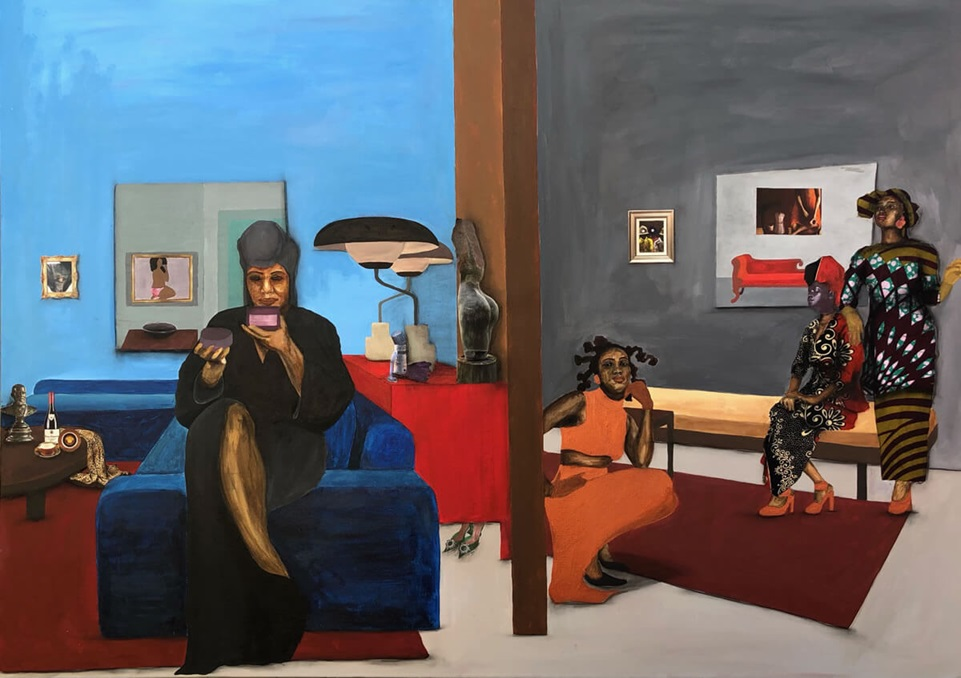 A painting of four African women on a horizontal canvas. On the left, a medium-dark-skinned woman wearing a dark brown robe and matching hair covering sits on the arm of a sofa in a well-decorated room. She looks out at the viewer while sipping from a cup. Separated by a painted wall, on the right side of the canvas are three women in a dark-gray room containing two small paintings. Near the canvas midline, a medium-dark-skinned woman wears an orange outfit and crouches on the ground while gazing out of the picture plane. Near the right edge of the canvas, one dark-skinned woman sits on a golden bench, gazing to the side, while another dark-skinned woman stands, chin lifted and resting a hand on the seated woman's shoulder. Both wear multi-colored hair coverings and embellished black dresses.
