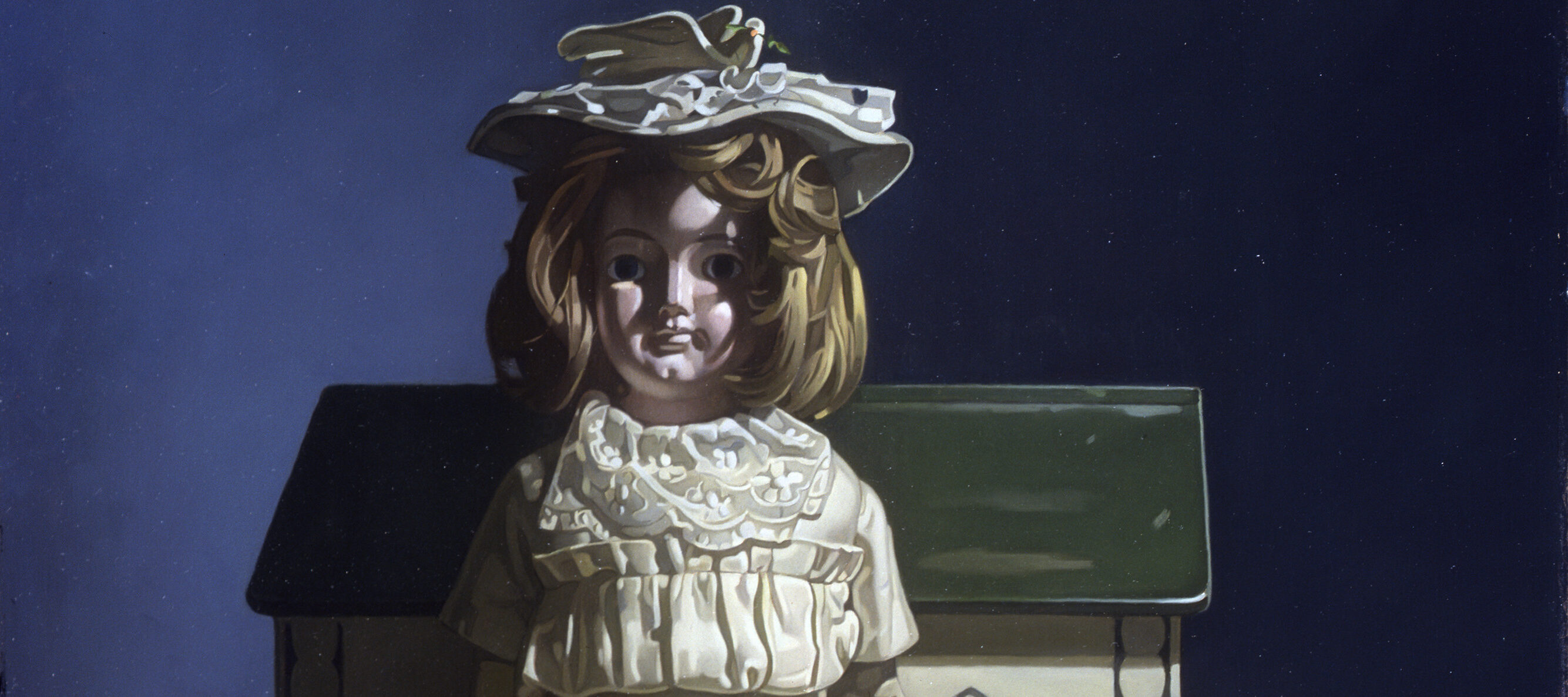 A light-skinned porcelain doll with a blonde bob sits with her back against a simple toy of Noah's Ark before a blue wall. She wears a long, white dress and sun hat. A few tiny animal figurines and a doll-sized basket of flowers surround her. The scene is painted with severe shadows.
