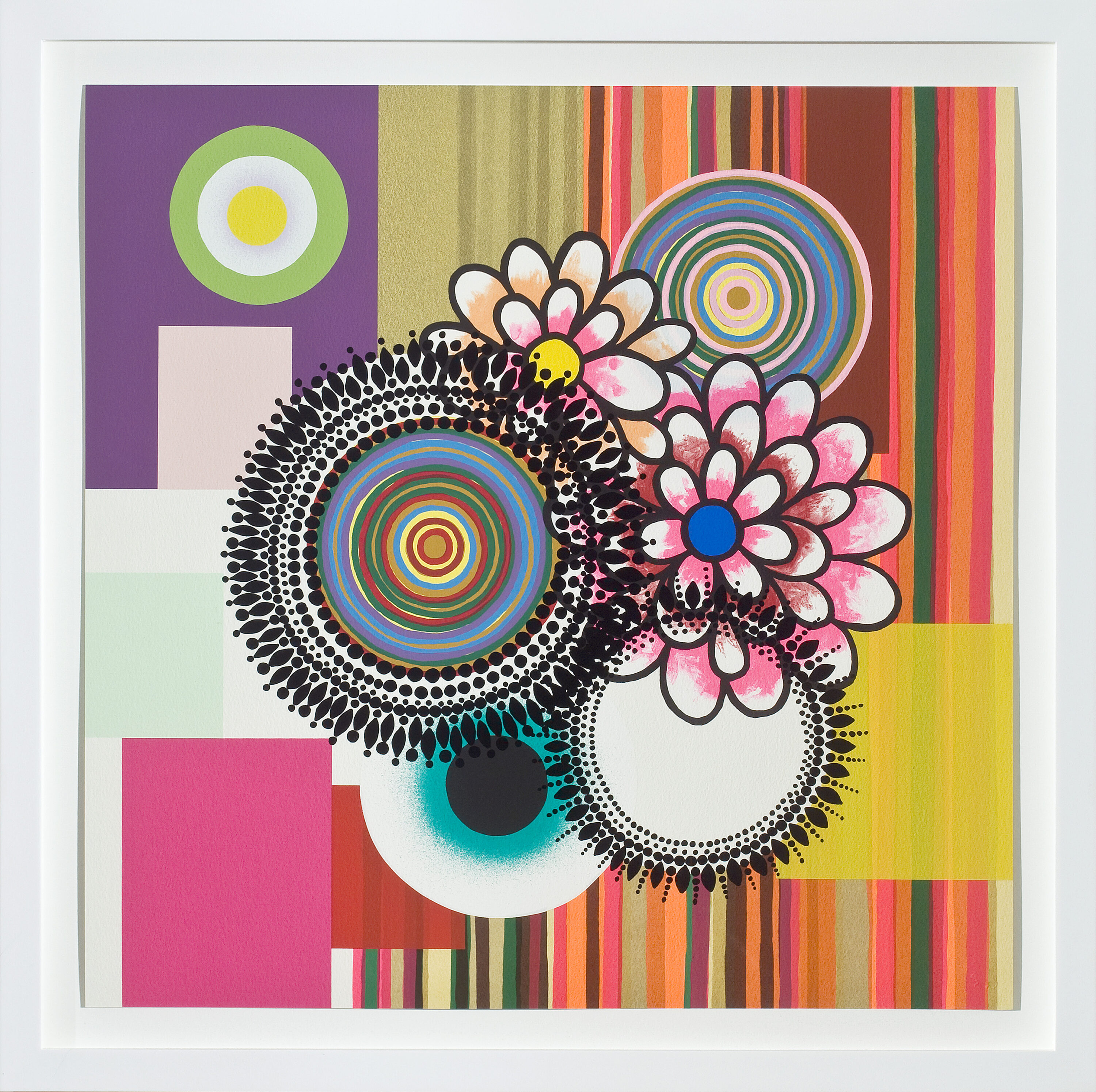 A square, vibrant print with colorful pink flowers and colorful, mandala-like circles against a geometric background of different colored rectangles and vertical stripes.