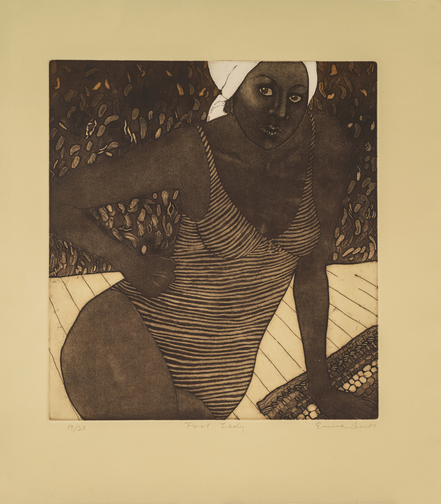 A dark-skinned adult woman seen from the hips up rendered in brownish-black ink on light tan paper, framed in a square. She wears a striped, one-piece bathing suit and a white cap. She leans on her left arm on a towel on white planks, and her right hand is on her hip with her elbow out.
