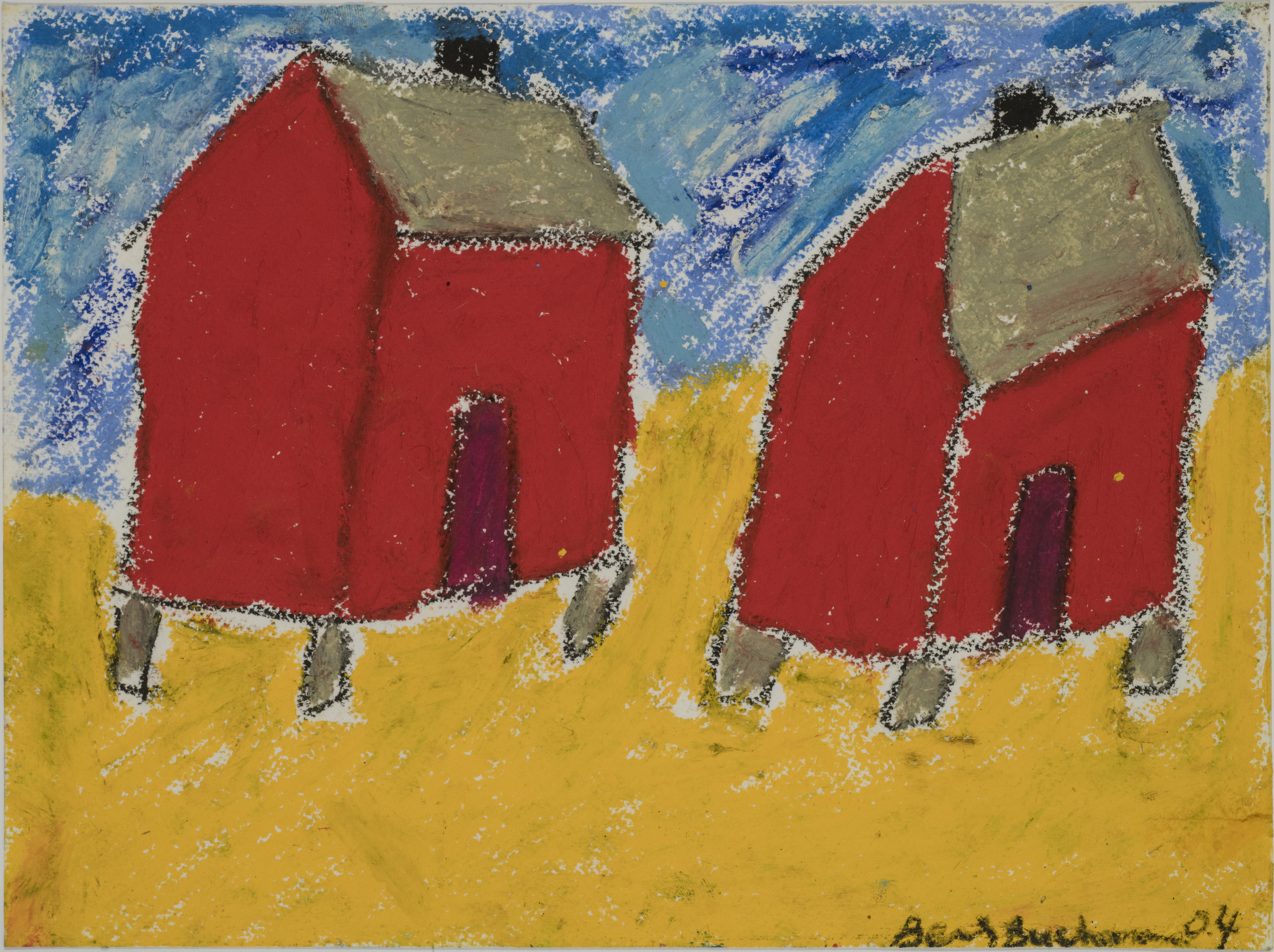 In this painting, two square red shacks with grey roofs and short, grey stilt bottoms sit atop a yellow ground and against a sky blue background. The painting is rendered in a basic, child-like style.