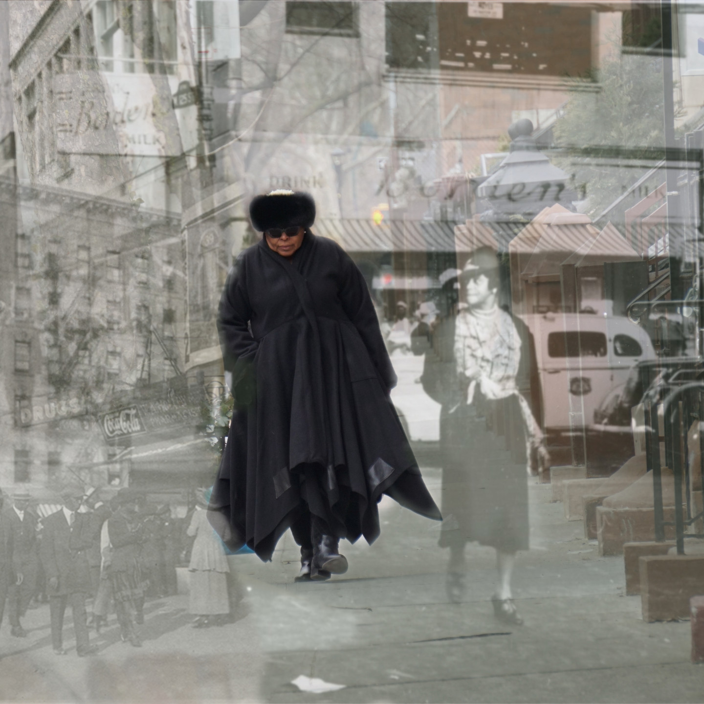 A photo montage shows a present-day individual with dark skin and clothing walking and is overlayed on a historical black-and-white photograph of a city neighborhood. The present-day individual appears to walk next to an individual in the historical photo.