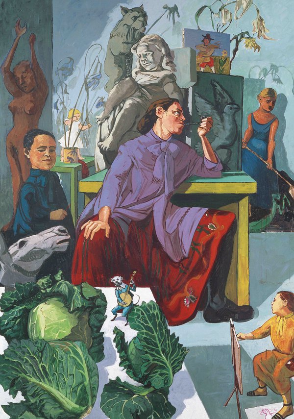 A colorful figurative painting centers around a light-skinned woman wearing a long purple formal shirt with a tie at the neck over a long red, embroidered skirt and high black boots. She sits at a table with her legs spread wide and her right hand resting on her right knee. Her left hand holds a small pipe to her lips and she stares to the left. Behind and around her are a variety of things: paintings of birds and people, sculptures of nude women and creatures, other short women in blue dress that may or may not be real, a horse head, four heads of green cabbage on a table. A miniature person painting at an easel in the right lower corner.