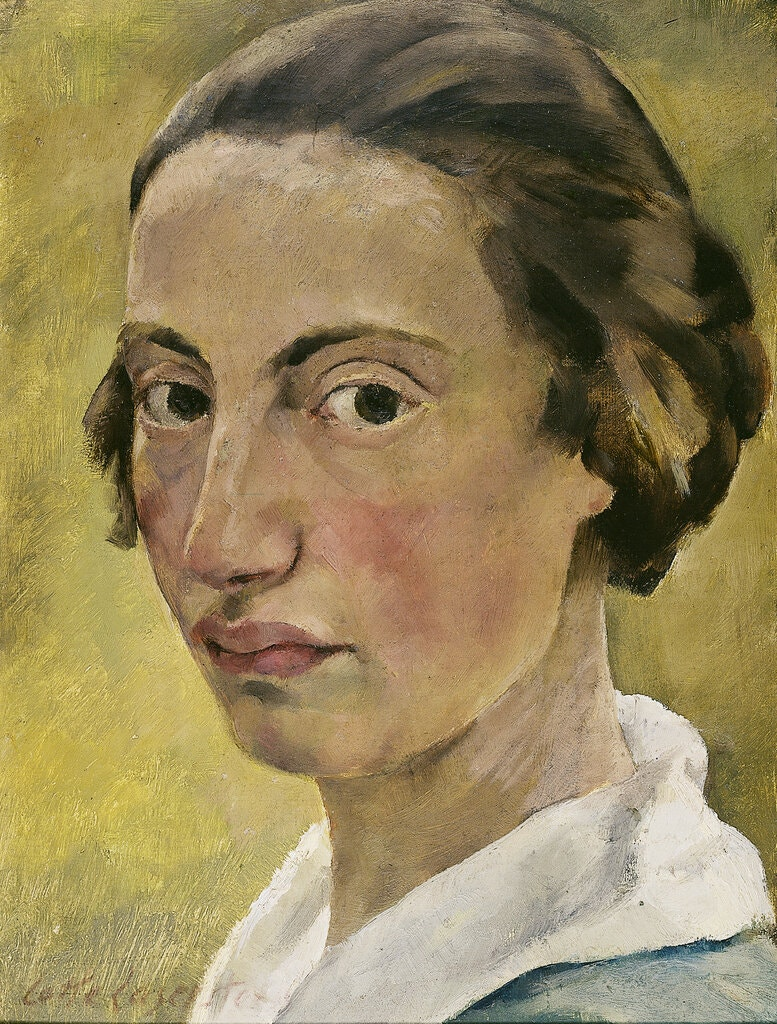 A self-portrait painting features a light-skinned woman with rosy cheeks staring directly at the camera, as if turned from the side. Her ear-length brown hair is pulled back plainly and she wears a shirt with a prominent white collar. The painting calls attention to her almond-shaped brown eyes and her plump upper lip. The background is an earthy yellow/brown.