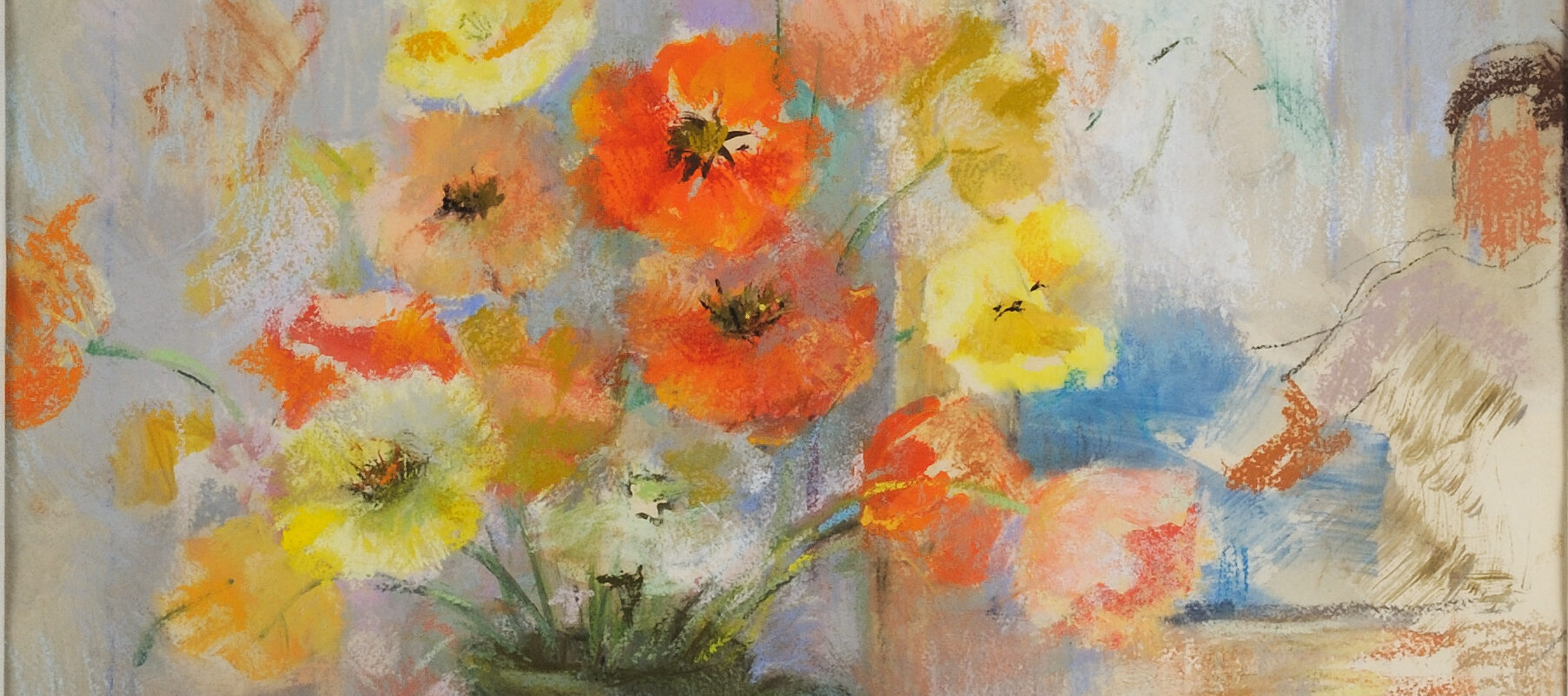 A vase of orange and yellow poppies springing from a green vase perched on a white table in front of a white wall and window. The depiction is a little blurry and Impressionist.