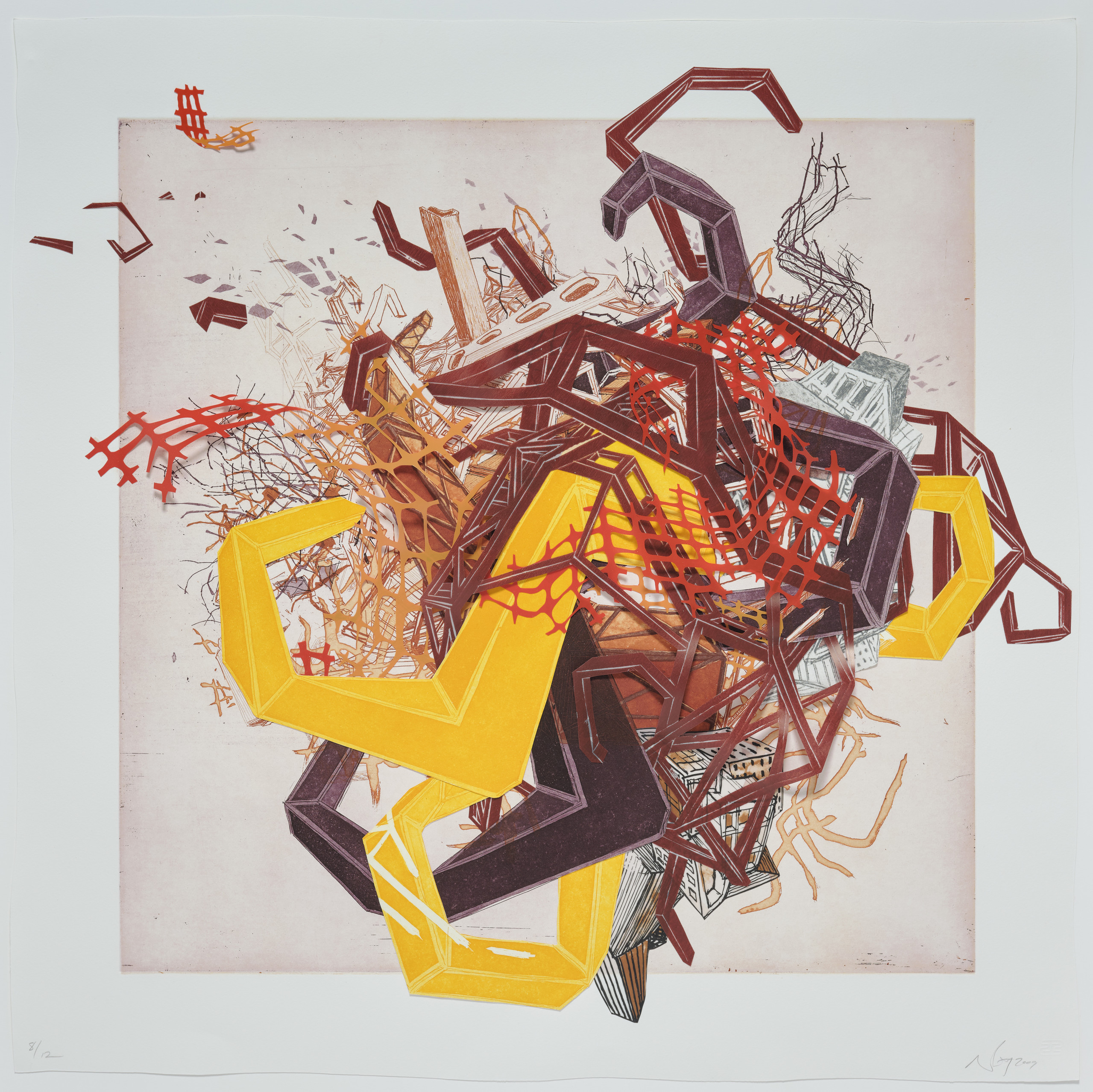 Mixed media work on paper depicts a tangle of colorful forms in the center of the paper. Some forms are printed abstracted architectural structures and pipes. Other forms are made out of mylar and represent hoses and plastic fencing.